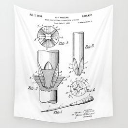 Phillips Screwdriver: Henry F. Phillips Screwdriver Patent Wall Tapestry