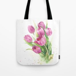 Watercolor bouquet of pink tulips Tote Bag
