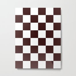 Large Checkered - White and Dark Sienna Brown Metal Print