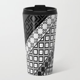 Black / white patchwork Travel Mug