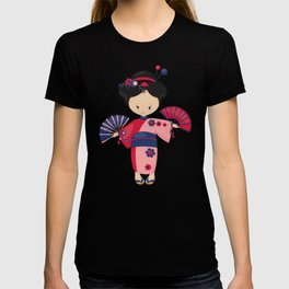 Japanese Girl, Japan, Cute Girl, Pink Kimono T-shirt