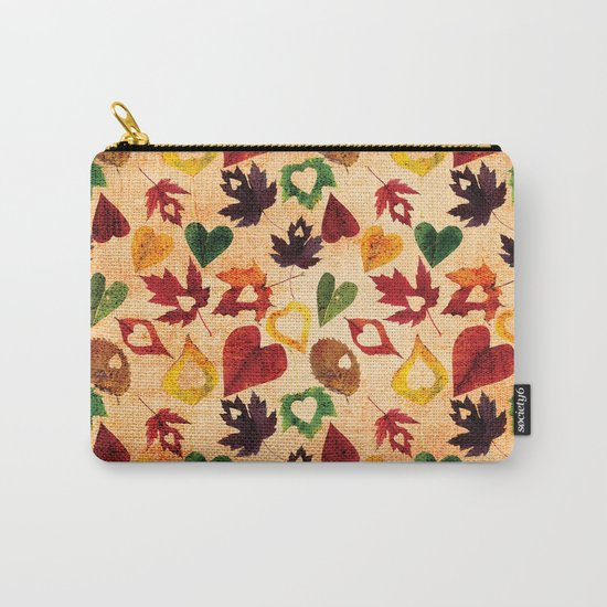 Happy autumn- hearts and leaves pattern Carry-All Pouch
