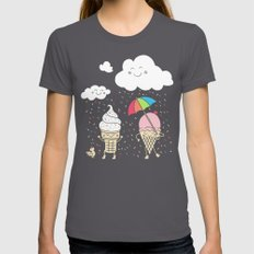 Cloudy With A Chance of Sprinkles Asphalt SMALL Womens Fitted Tee
