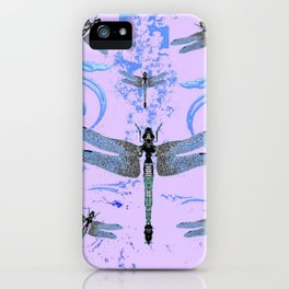 DELICATE BLUE & LILAC DRAGONFLIES ABSTRACT ART iPhone Case