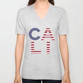 CALI American Flag Califronia Typography Unisex V-Neck