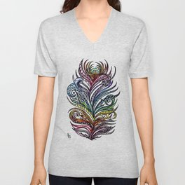 Ornate Rainbow Zentangle Feather Unisex V-Neck
