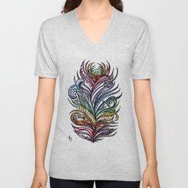 Ornate Rainbow Zentangle Feather Unisex V-Neck