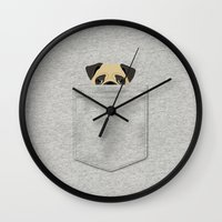 pocket Wall Clocks featuring Pocket Pug by Anne Was Here