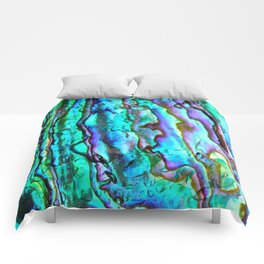 Glowing Aqua Abalone Shell Mother of Pearl Comforters