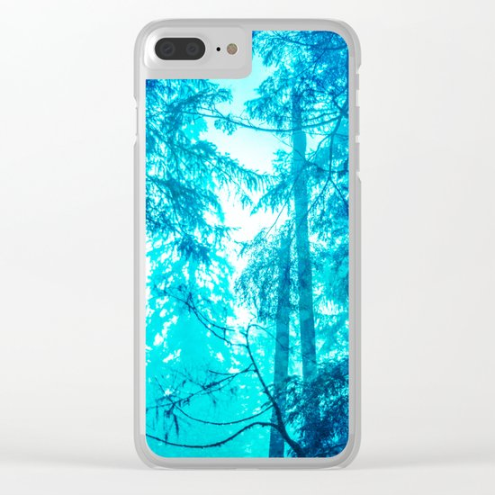 Blue Frost Woods Clear iPhone Case