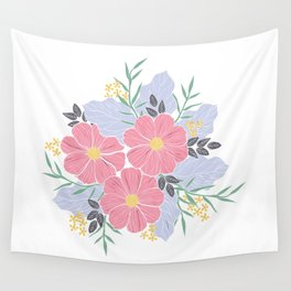 Vintage Pink Flowers Wall Tapestry