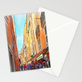 Narrow busy street in Monaco, Monte Carlo Stationery Cards