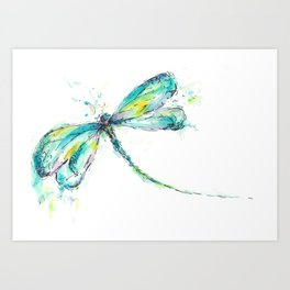Watercolor Dragonfly Art Print