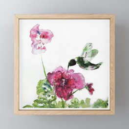Chuparosa checking out all the Pink Pink Hollyhocks by CheyAnne Sexton Framed Mini Art Print