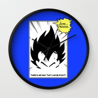 vegeta Wall Clocks featuring IT'S OVER 9000 (Dragonball, Vegeta)  by SOULTHROW