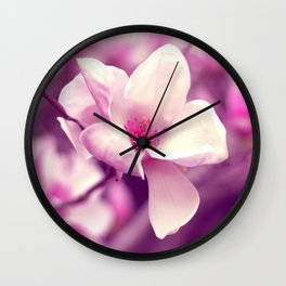 Lonely Flower - Radiant Orchid Wall Clock