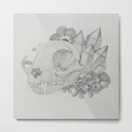 Cat Skull Pointillism Drawing Metal Print