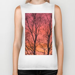 Tree Silhouttes Against The Sunset Sky #decor #society6 #homedecor Biker Tank