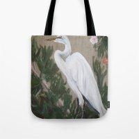 crane Tote Bags featuring Crane by Lark Nouveau Studio