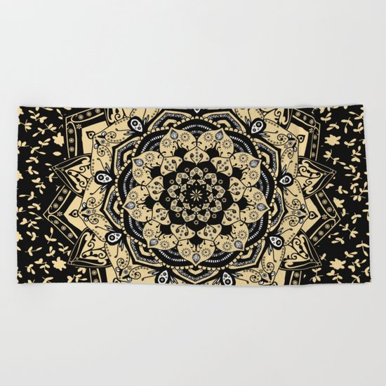 Indian Gold Mandala Beach Towel