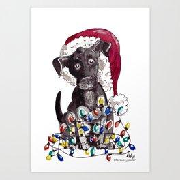 Helpful Puppy, Cute Christmas Art Print