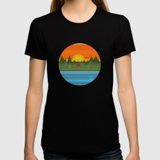 Camping Womens Fitted Tee MEDIUM Black