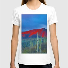 Green Cactus Field In The Desert With Red Mountains Blue Grey Sky Landscape Photography T-shirt