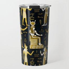 Egyptian Gods Gold and white on dark glass Travel Mug