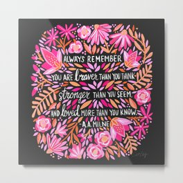 Always Remember – Pink & Charcoal Palette Metal Print