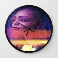 fierce Wall Clocks featuring Fierce by Jade Alexandra