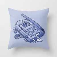 tape Throw Pillows featuring TAPE NAP by Letter_q