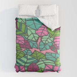 Pink and Green Palm Leaves Print Comforters