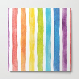 Watercolor Rainbow Pride Stripes  Metal Print