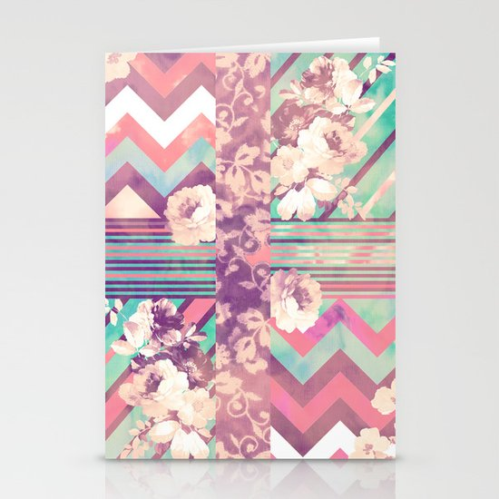 Retro Pink Turquoise Floral Stripe Chevron Pattern Stationery Cards