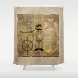 Captain, ship, rudder, anchor, lifebelt, map, compass, old map, messy, messy map Shower Curtain
