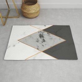 Geometric marble & copper Rug