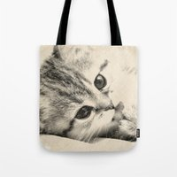 kitten Tote Bags featuring Kitten by Augustinet