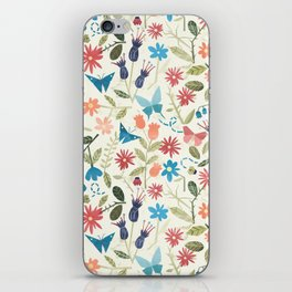 Origami insects and paper cut flowers iPhone Skin