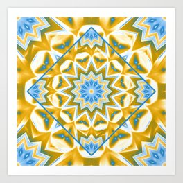 Wheel cover kaleidoscope in blue and gold Art Print