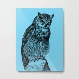 Owl #01 blue Metal Print