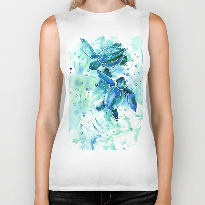 Turquoise Blue Sea Turtles in Ocean Biker Tank