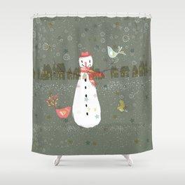 Cute Christmas Snowman & Birds Winter Scene Shower Curtain
