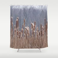 furry Shower Curtains featuring Furry Cattails by DanByTheSea