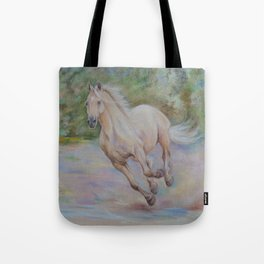 Palomino horse galloping Pastel drawing Horse portrait Equestrian decor Tote Bag