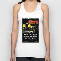 brussels Tank Tops featuring Vector art deco Brussels 1930s auto salon by aapshop