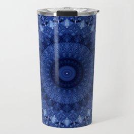 Mandala in deep blue tones Travel Mug