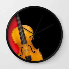 Violin on a multi-colored background Wall Clock