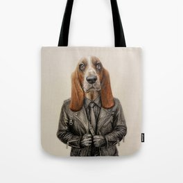 dog in leather Tote Bag