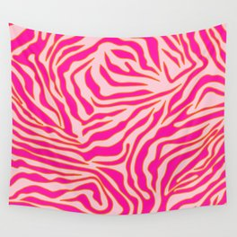 Zebra Print Pink And Orange Zebra Stripes Wild Animal Print Preppy Decor Modern Zebra Pattern Wall Tapestry