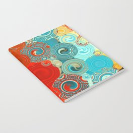 Turquoise and Red Swirls Notebook